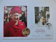Queen Elizabeth Golden Jubilee FDC Coin 1 Crown 2002 Gibraltar Antigua Barbuda