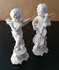 Coppia angioletti in ceramica bianca