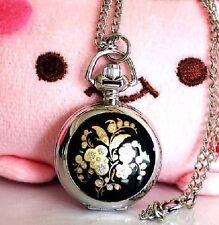 Pocket watch silver coloured Flowers Black Chain Women's Ø27