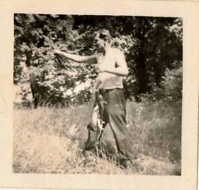 Old Vintage Antique Photograph Man Holding Up Fish He Caught