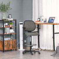 Ergonomic Drafting Chair Tall Office Stand Desk Chair with Foot Ring, Arm, Wheel