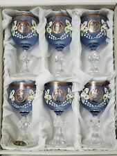 New listing Vintage Hand Made Set Of 6 Blue Mini Wine Glasses By Malovani Sxla Floral Paint