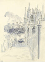 E.F. Hearfield, York Minster Cathedral View – Original 1980s pen & ink drawing