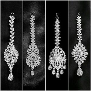 Indian Asian Bollywood Silver Diamond Tikka Headpiece for Weddings and Festivals