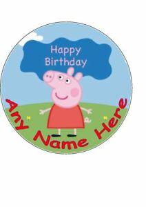 7.5 inch Personalised Edible Icing Cake Topper Happy Birthday Peppa Pig