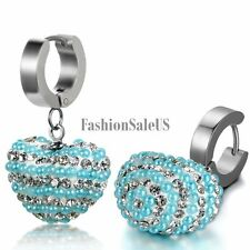 Women's Silver Stainless Steel Heart Shaped Rhinestone Hoop Drop Dangle Earrings