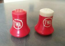 2 Vintage TWA Inflight Salt and Pepper Shakers Red White