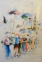 flandre - le carnaval de dunkerque - aquarelle signé rosine devynck