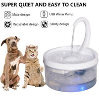 2 LED Automatic Electric Pet Water Fountain Dog Cat Drinking Dispenser Filter