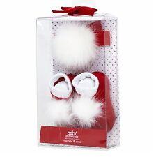 Baby Essentials Girls RED/WHITE Fur Headband and Socks Set - 0-6 Months NIB