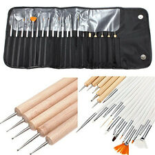 20 Brosse Pinceaux Ongle Stylo Dotting Pen Manucure Etui Trousse Kit Nail Art