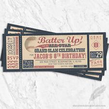 Baseball Ticket Birthday Party Invitations / Vintage Batter Up Bat Ball