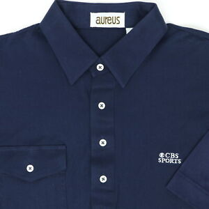 "VTG 80s Aureus Men XL 44"" CBS Sports Pocket Polo Shirt Blue Cotton"