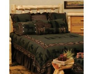 Wooded River Moose Gathered Bedskirt King New