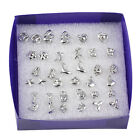 Fashion Wholesale lots 18 Pairs Mix Styles Silver Plated Sterling Stud Earrings