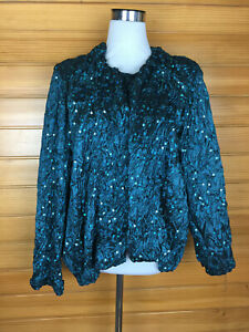 L'Officiel Beautiful Sea Green Sequined Ruched Evening Jacket Size 10 to 16 EUC