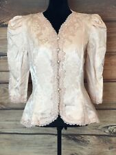 Women's VTG Cachet Jacket Blouse Pearl Buttons Embroidered Lace Sz 11/12 Blush