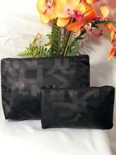 NWOT~DKNY Black Nylon 2 Pieces Set Cometic/ Make Up Pouch Bag