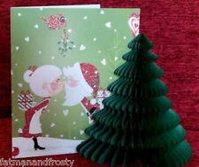POP UP 3D CHRISTMAS CARD SANTA & MRS CLAUS KISSING MISTLETOE Christmas Tree Card