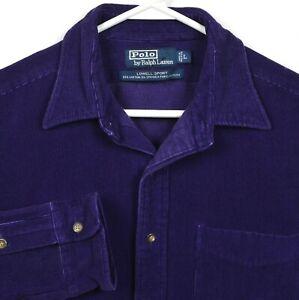 Polo Ralph Lauren Men's Large Corduroy Purple Lowell Sport Vintage 90s Shirt
