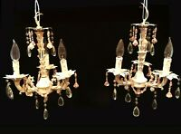 Pair of chandeliers. French Country. Shabby Chic. Distressed cream w/ pink beads