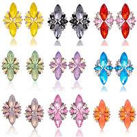Elegant Women Rhinestone Crystal Wings Flower Ear Stud Earring Fashion Jewelry
