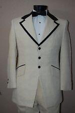 Boys 4 Light Yellow Ivory Vintage Tuxedo Jacket Black Velvet Slim fit Tux