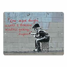 "Banksy Art One Original Thought Mini 5"" x 7"" Metal Sign"