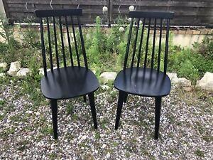 Paire Chaise Bistrot Style TAPIOVAARA Bois Noir Vintage