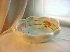 Vtg Bowl Pink Blossoms White Porcelain Hand Painted 6 inch Repurpose Soap Dish