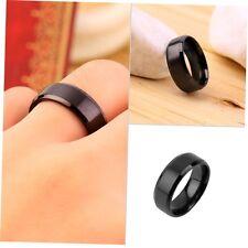 1 pcs Cool Mens Stainless Steel Ring 8mm Band Titanium Black Wedding Ring GU