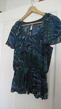 Navy teal leaf print blouse/top  size M as new