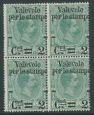 1890 REGNO VALEVOLE PER LE STAMPE 2 SU 75 CENT QUARTINA MNH ** - G193