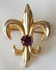 Fleur de Lys~ Brooch ~ Gold Tone with Amethyst Purple Colour Crystal