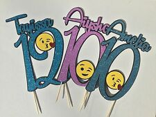 Emoji 😋😍😘😜inspired personalised name&number cake topper, many colours avail.