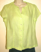 Talbots Spring Green 100% Irish Linen Cap-Sleeve Button Down Blouse Size 8