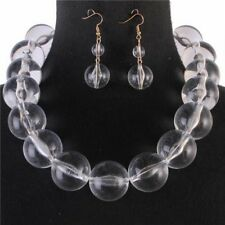 Clear Lucite Bead Chunky Necklace Earring Set
