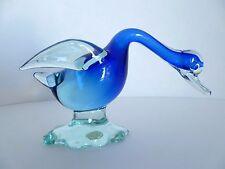 Vintage Murano Mid Century Italian Art Glass Blue Duck Goose Swan Figurine Italy
