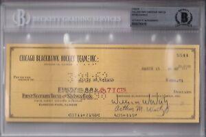 BECKETT WILLIAM WIRTZ-AB MCDONALD SIGNED 1962 CHICAGO BLACKHAWKS CHECK #5544