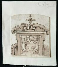 17th.Century Old Master Drawing Provenance 1600s Religious Architecture Italian