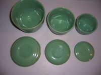 Vintage Set of 3 Green Stoneware Hiding Stackable Bowls with Lids