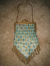 Antique Vintage Mandalian Mfg. Co. 1920's Art Deco metal mesh enamel purse