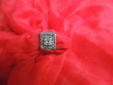 Gorgeous Men's Vintage Cubic Zirconia Sterling Silver Ring Size 11