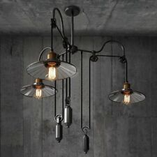 Retro Industrial Ceiling Light 3 Heads Adjustable Pulley Pendent Lamp Chandelier