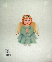 KWC 7017 Green Angel Christmas Ornament HP Hand Painted Needlepoint Canvas
