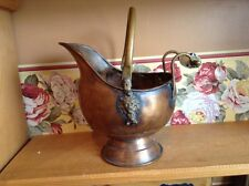 Small antique copper with blue glass handle coal skuttle