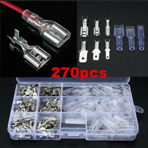 270Pcs Cable Lugs Car Electrical Wire Terminals Crimp Connectors With Sleeves UK