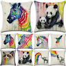 Rainbow Zebra Unicorn Animal Cotton Linen Pillow Case Cushion Covers Bed Decor