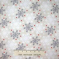 Christmas Fabric - All Bundled Up Snowflake Toss Beige - Wilmington YARD