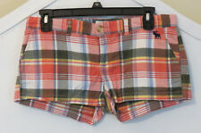 Abercrombie & Fitch Plaid Shorts 0 S Stretch Flat pockets Pink Girls